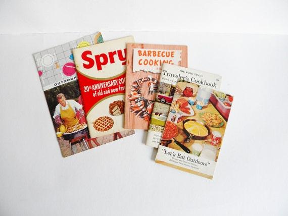 Vintage Cookbooks, Set of 5, 1950's to 1960's, Kitchen Kitsch
