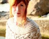 Hand Knit Poncho, Cable Knit Shrug, Wedding Capelet, Bridal Cape,  Chunky Cable Poncho, Bridal Cover Up