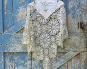Wrap Your Love Around Me Shawl /upcycled lace and linen wrap/shabby chic shawl/vintage wrap