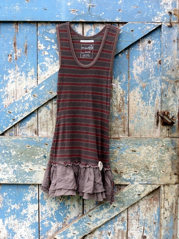 Tank You Tunic / upcycled brown tank mini dress / eco friendly free people top