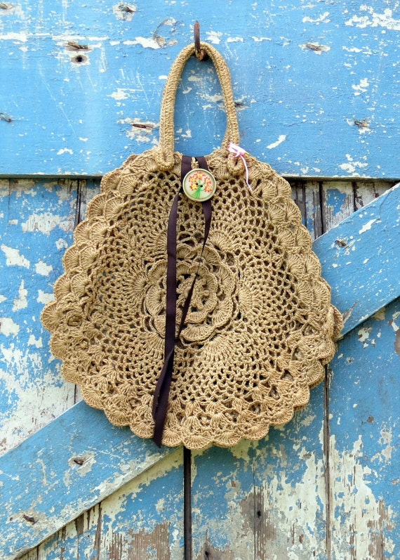 Sunshine On My Shoulder Bag/Upcycled round and rustic purse/eco boho bag
