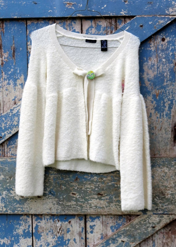 White As Snow Sweater / upcycled sweater / eco cream cardigan