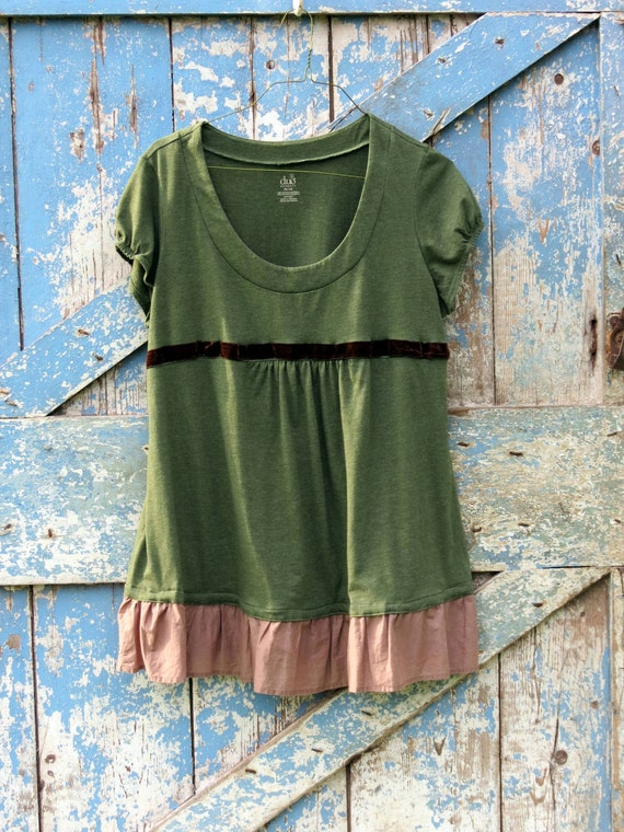 Mama's Smooth As Velvet Top/upcycled maternity shirt/ eco friendly green T