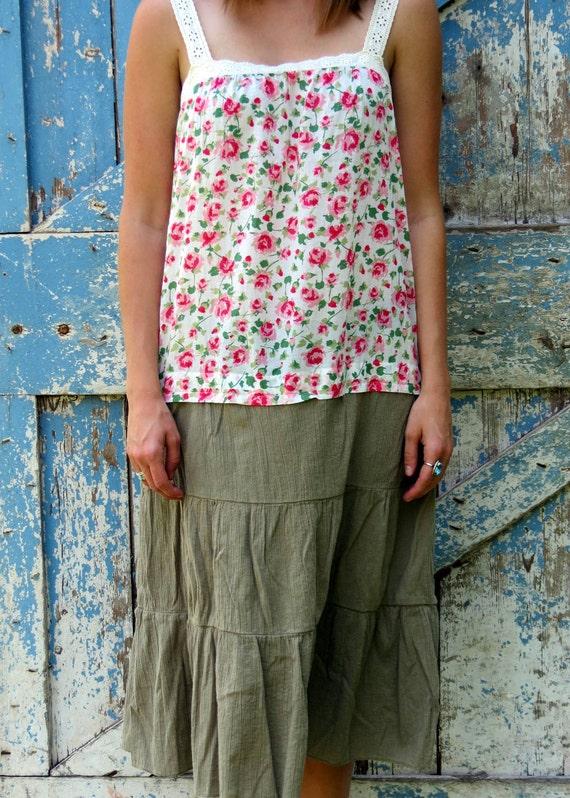 Romantic Rose Garden Sundress/upcycled floral sundress/ eco friendly summer boho chic dress
