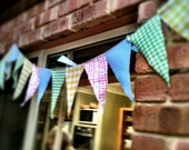 HALF PRICE Cute Bunting for Parties, Pink, Blue, Yellow, Green Checkered
