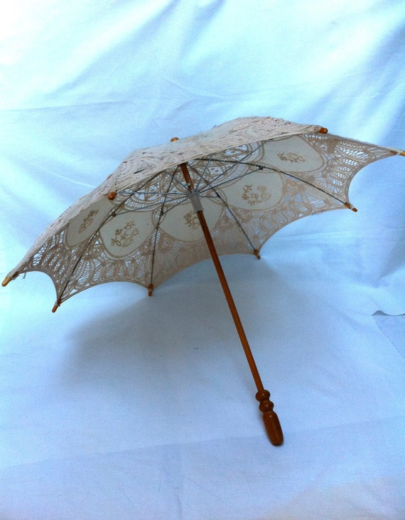 Dainty handmade lace and wood parasol
