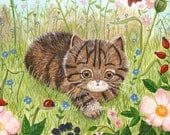 Gorgeous Cat Art Print - I really should do something......Cute Summer Butterfly Flowers Tabby cat Wildlife