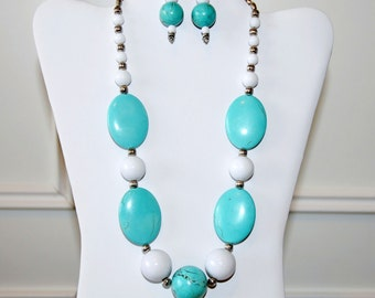 Bold Turquoise and White Necklace Set