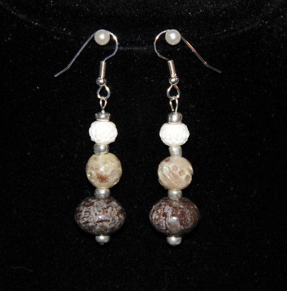 Ivory, Beige and Brown Stone Earrings