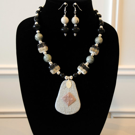Grey and Mauve Necklace Set