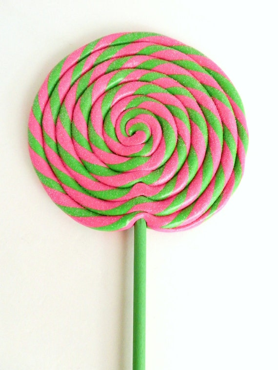 Fake Lollipop Wild Watermelon Pink and Green Swirl Lollipop