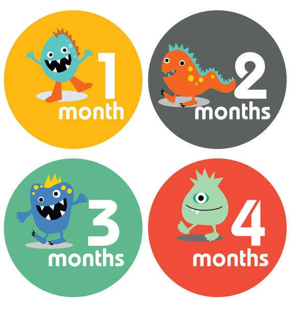 Lucy Darling Monster Baby Stickers - Months 1-12