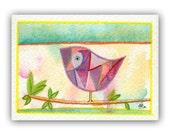 As a Bird - Original ACEO painting watercolor bird Lauren Alexander