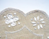 Hand embroidered doily Embroidery on  fabric ecru with white cotton