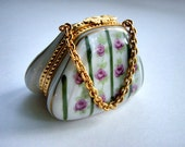 Vintage Porcelain Ceramic Pill box Hand painted Handbag with Roses pink gold Little jewel casket box Mom