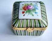 Limoges Porcelain Ceramic Pill box Hand painted pink gold green for Mom