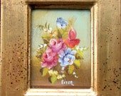 Vintage Picture painted by hand Wooden picture frame Gilded wood passpartout