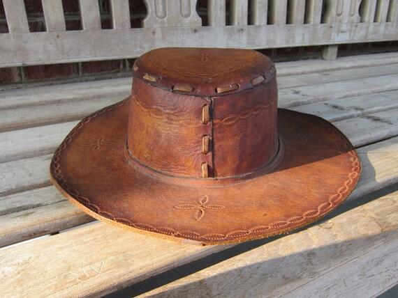 Leather Hat, Hand Tooled, Vintage