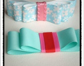 Japanese Kimono Aqua and Floral Printed bow hair clips. You pick one.
