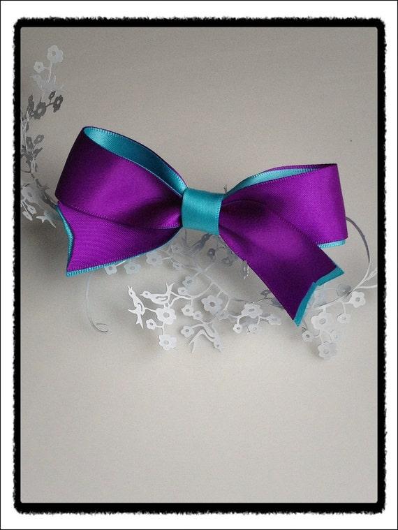 Simply elegant purple sky blue satin bow