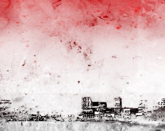 Red Abstract Art, Industrial Decor, Industrial Red, Urban Art, Red Grey Wall Art, City and Colour, Art Print, Surreal Photograph City Poster
