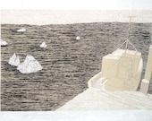 """original serigraphy print """" Harbor in Narvik, Norway"""""""