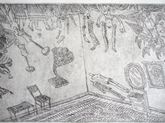 """ORIGINAL ETCHING """"Surreal dream about room."""""""