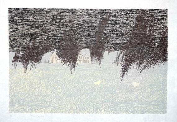 "original serigraphy print ""Snow storm is coming"""