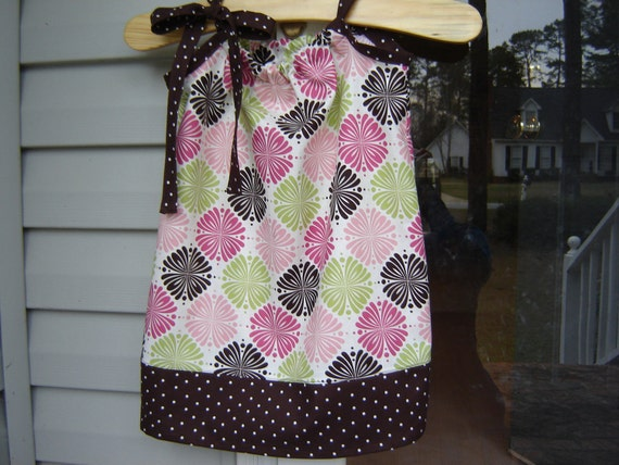 On Sale - 2T Pillowcase Dress - Pink Green Brown - Ready to Ship