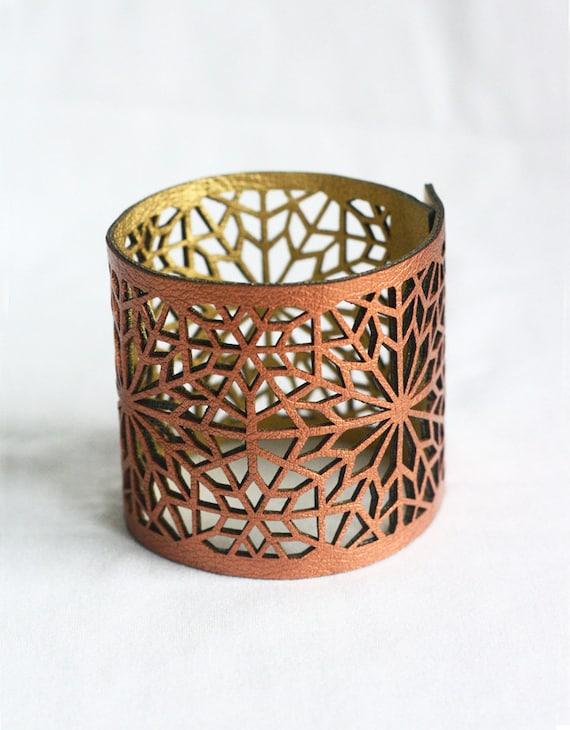 Geometric Laser cut Copper & Gold Faux Leather Cuff (Moroccan Zellij inspired)