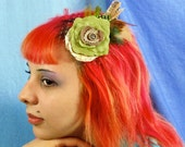 Green Rose Feather Fascinator Bridal hair accessory Romantic wedding prom Rose Antique Button original unique hair clip