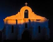 Landscape Photograph - Spanish Mission Sunset Landscape Photograph, Southwest Texas Mexico Border Sunset Color Art Print