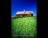 Landscape Photograph - Red Barn Vermont Landscape -  New England Farm - Vermont - Green Grass Sky Blue Color Print