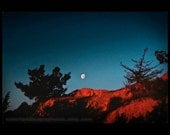 Landscape Photograph - Red Desert Landscape Photograph Red Rocks and Moonrise, Nevada - Moon in Teal Sky Desert AbstractArt Print