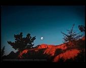 Landscape Photograph - Red Desert Landscape Photograph Red Rocks and Moonrise, Nevada - Moon in Teal Sky Desert AbstractArt Print
