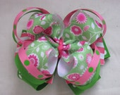 Boutique Hairbow - Kelly Green, Pink and White