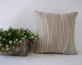 Beige stripes decorative accent pillow cover / pillowcase / cushion cover - 18 x 18 inches