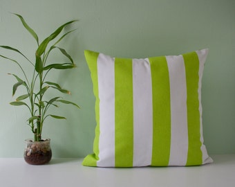 Throw pillow cover / decorative pillow / accent pillow - green and white stripes 18 x 18 inches