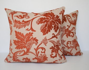 Beige and  rust red decorative accent pillow cover / red pillow / throw pillow / rust pillowcase /  throw cushion cover - 18 x 18 inches