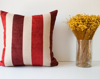 Red pillow cover - decorative throw pillow, accent pillow - cushion cover - pillow case - red beige bordeaux stripes 18 x 18 inche