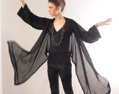 Knitted Cardigan, Black Knitted Warp Cardigan ,
