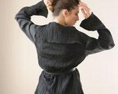 Black Women Cardigan, warp Jacket with a leather belt