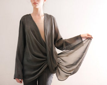 Chiffon shirt, gray Shrug ,Modern Long Sleeve top, loose fit, oversize blouse, deep cleavage, semi sheer, winter top, minimal style, formal