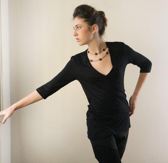 Open Back Top Black, 3/4 Sleeve Top, v neck black top, fitted shirt, minimal t shirt, long day blouse, draped modern shirt, black shirt