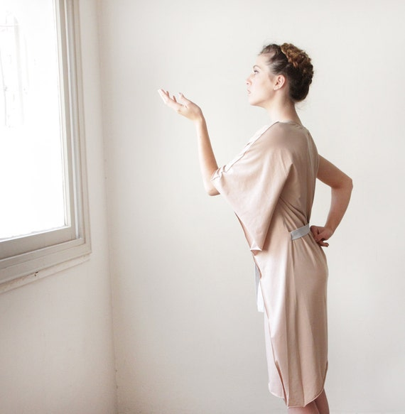 Cream Women Dress, Beige Jersey Dress