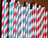 50 Red, White and Blue Striped Paper Straws with DIY flags