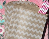 50 Favor Bags - Brown and White Chevron Kraft Bags, Chevron, Horizontal and Vertical