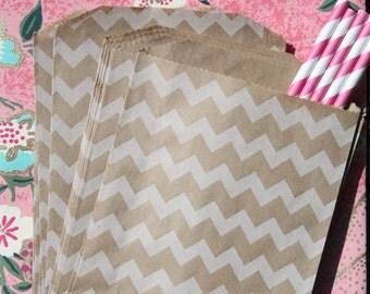 50 Favor Bags - Brown and White Chevron Kraft Bags, Chevron, Horizontal and Vertical