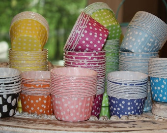 120 Rainbow Nut Cups, Candy Cups, Fruit Cups, Polka Dot Candy Cups Pick Your Color