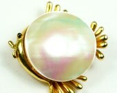 Vintage Blow Fish Brooch Gold Tone and Mother of Pearl